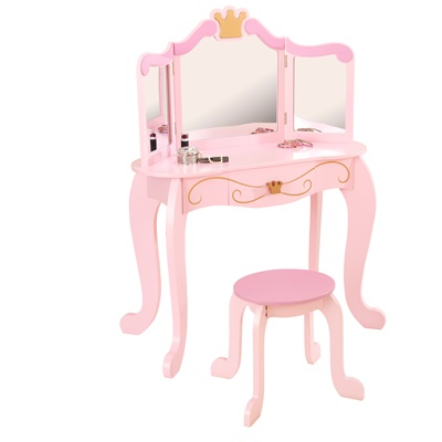 KIDS VANITY TABLE AND STOOL in Princess Design