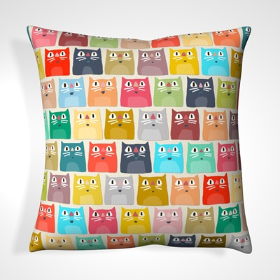 CUSHION in Colourful Cats Design