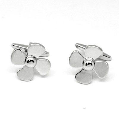 PROPELLER SILVER PLATED CUFFLINKS in Chrome Box
