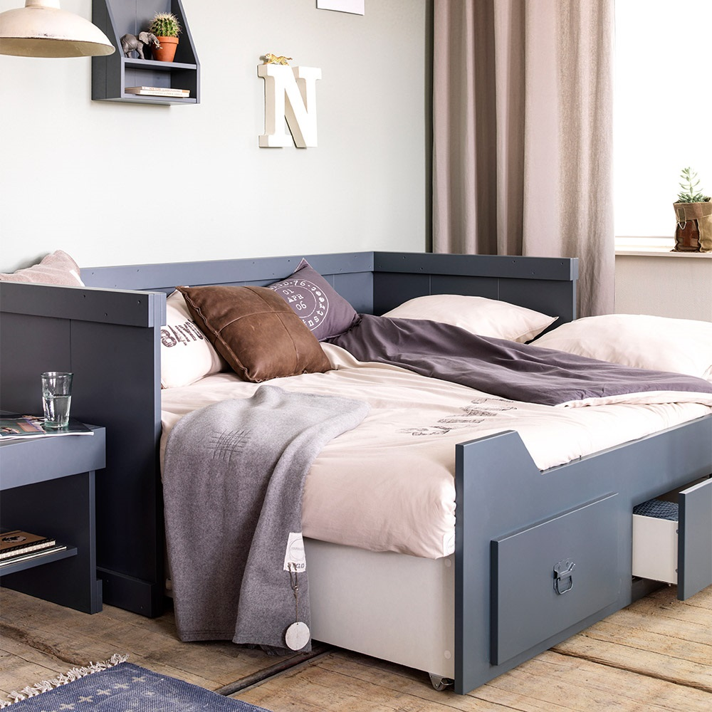 Rough Kids Day Bed With Trundle Bed And Drawers In Grey ...