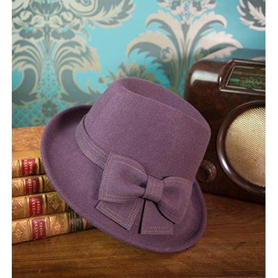 HEDY Pure Wool Designer Women's Hat in Aubergine & Lime