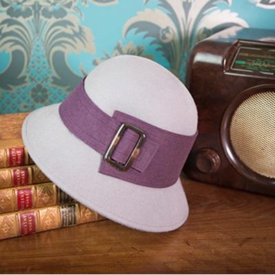 LANA Pure Wool Designer Women's Hat in Grey & Aubergine