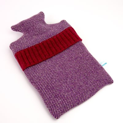 KNITTED LAMBSWOOL HOT WATER BOTTLE COVER Purple Mini Cross