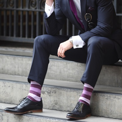 DESIGNER SOCKS in Stripey Purple Design