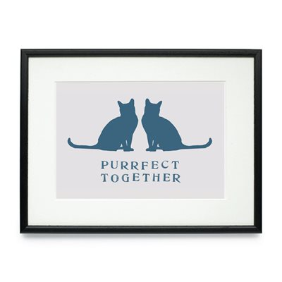 PURRFECT TOGETHER FRAMED CAT PRINT by Raw Xclusive