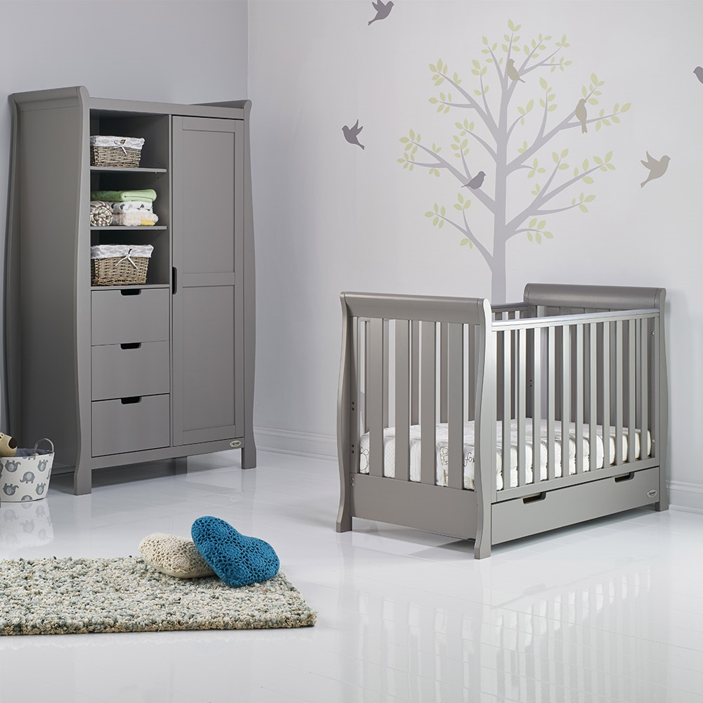 Obaby Stamford Mini Sleigh Cot Bed In Taupe Grey Obaby