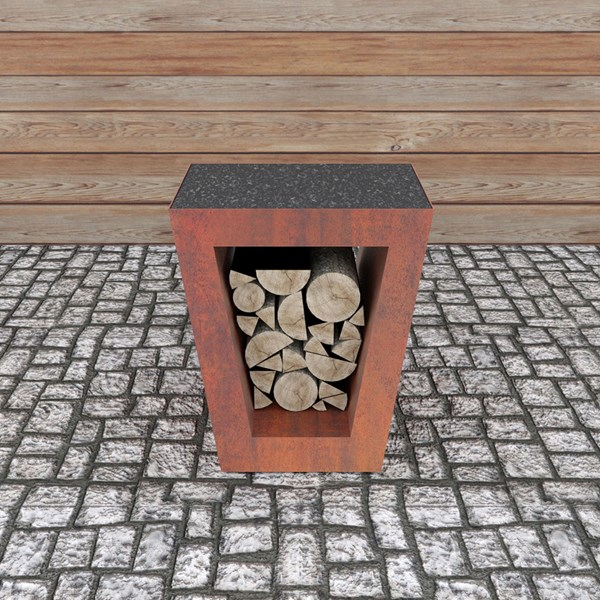BBQ Side Table with Granite Top and Log Store