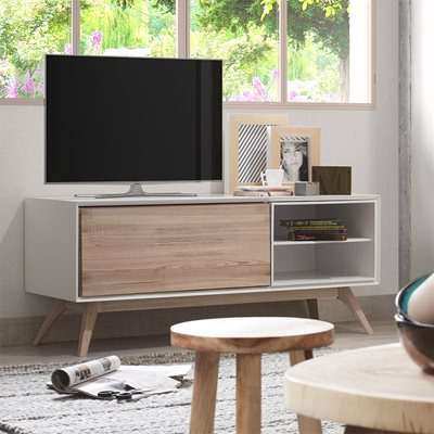 QUATRE WOODEN TV UNIT in White and Ash