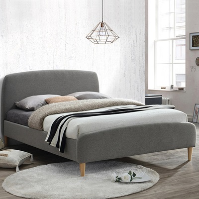 QUEBEC UPHOLSTERED BED in Grey by Birlea