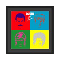 QUEEN FRAMED ALBUM WALL ART in Hot Space Print  Large
