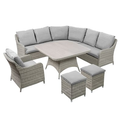 QUEEN LOUNGE OUTDOOR CORNER SOFA SET in White and Grey