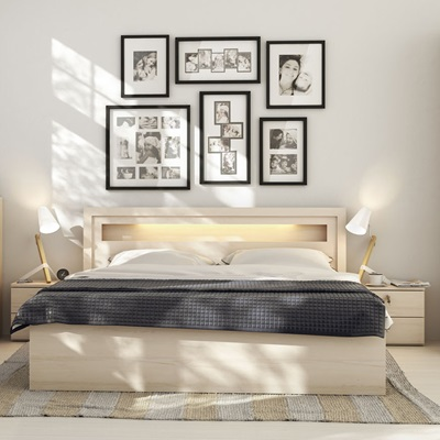 Vox R&O Bed Frame with Built in Lights in Beech Effect
