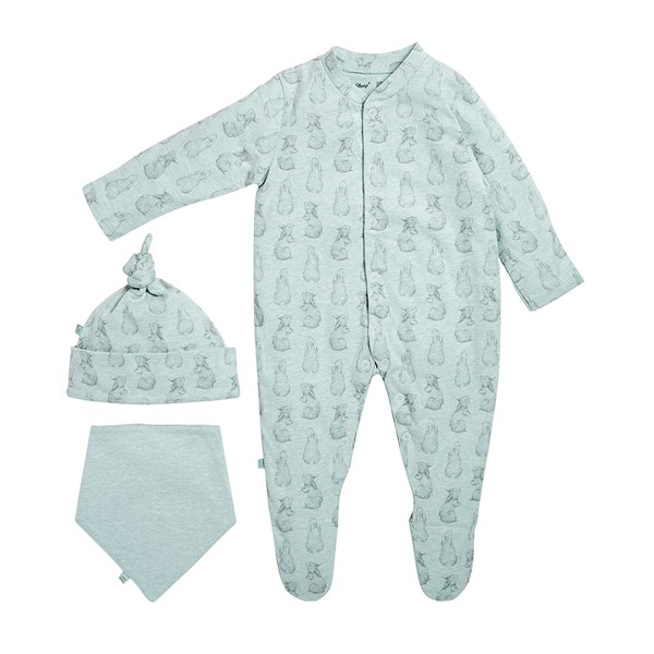 Green Rabbit Design 3 Piece Sleepwear Baby Gift Set