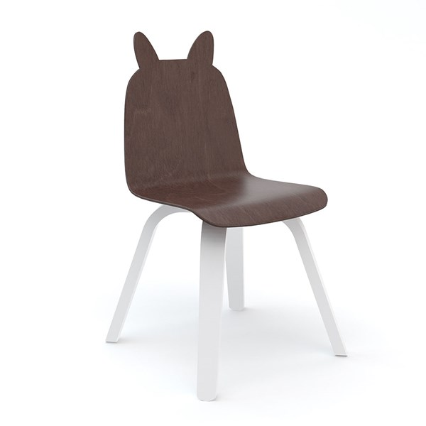 Oeuf Set of 2 Rabbit Play Chairs in White and Walnut