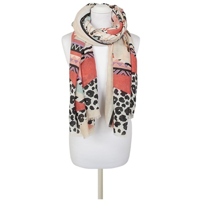 RAFAEL Mixed Print Scarf in Multi-Colour