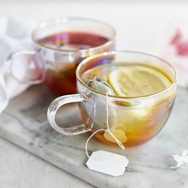 G&Tea Glass Rainbow Teacups Set of 2