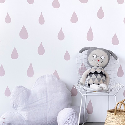 KIDS WALLPAPER Raindrops in Powder Pink