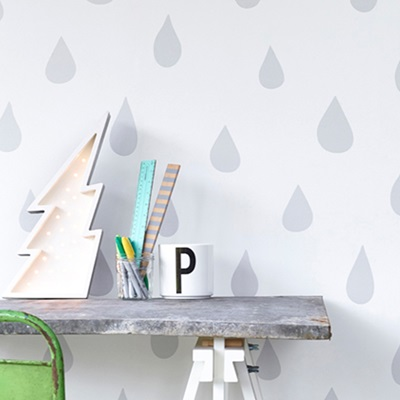 KIDS WALLPAPER Raindrops in Silver