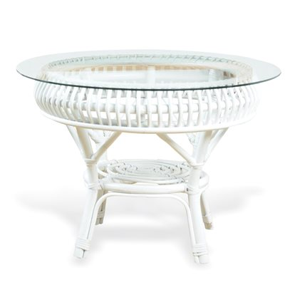 MATAHARI RATTAN TABLE in White with Glass Top