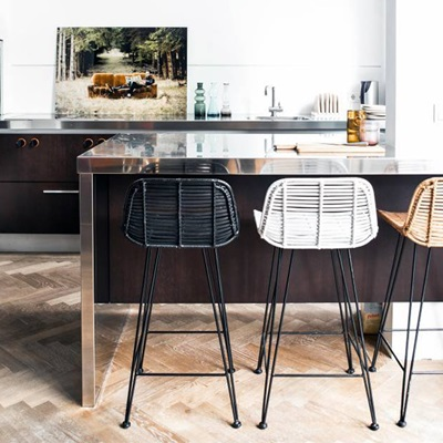 Scandi Style Rattan Breakfast Bar Stool In Natural Hk