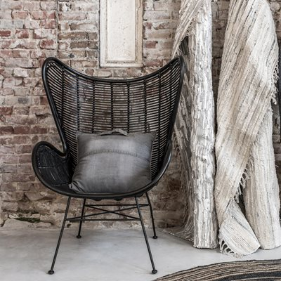 RATTAN EGG CHAIR in Black