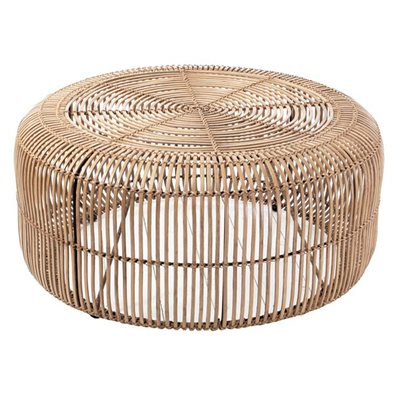 RATTAN ROUND COFFEE TABLE in Natural Finish