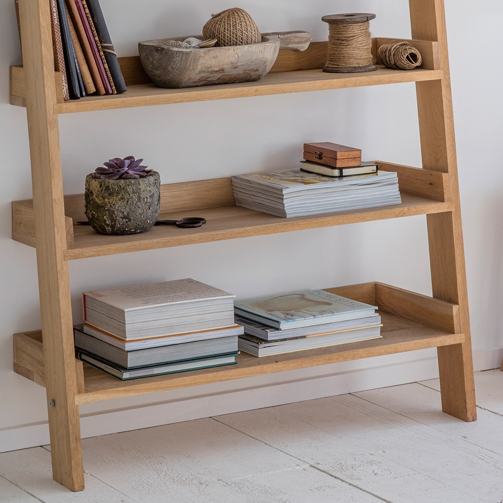 Garden trading hambledon wide oak ladder shelf garden trading cuckooland for Oak shelving units living room