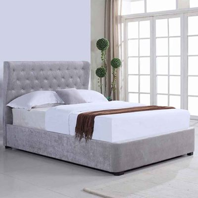 REBECCA UPHOLSTERED OTTOMAN BED IN SILVER by Flair Furnishings