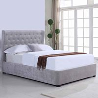 REBECCA UPHOLSTERED OTTOMAN BED IN SILVER by Flair Furnishings  King