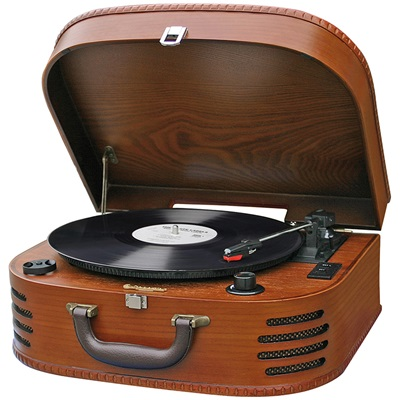 ROADSTAR WOODEN CASE RETRO RECORD PLAYER & RADIO