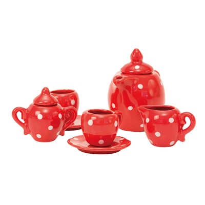 MOULIN ROTY CHILDRENS CERAMIC TEA SET in Red