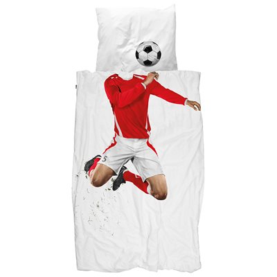 SNURK Childrens Football Duvet Bedding Set in Red