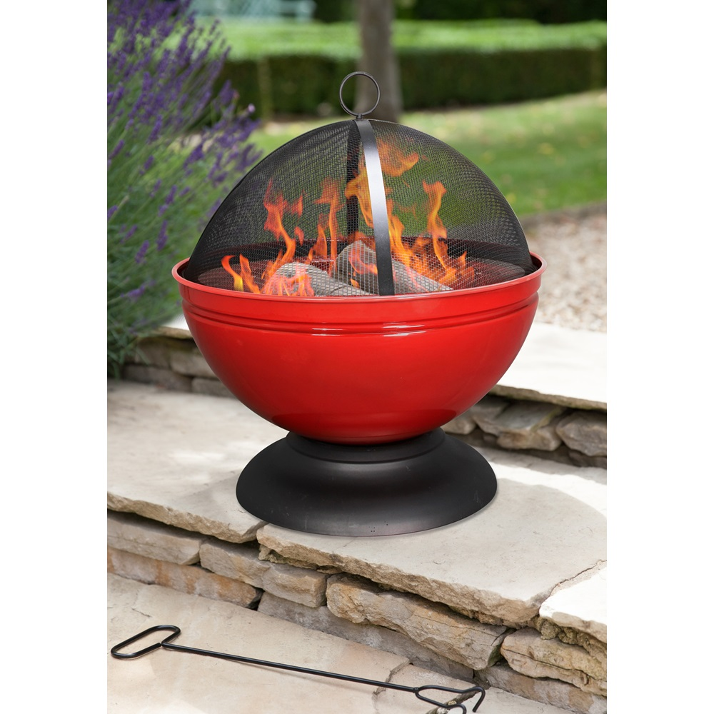 Globe Fire Pit : Globe enamelled firepit in red with grill bbq s