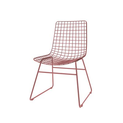 SCANDI STYLE WIRE DINING CHAIR in Marsala Red