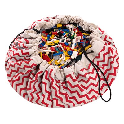 PLAY & GO TOY STORAGE BAG in Red Zigzag Design