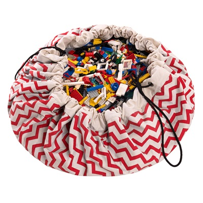 Play & Go Toy Storage Bag in Red Zigzag Design