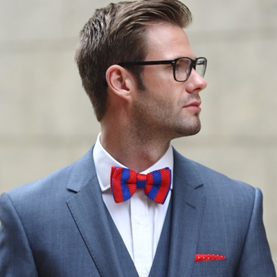 KNITTED BOW TIE in Blue and Red Stripe Design