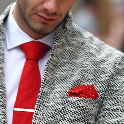 WOVEN SILK POCKET SQUARE in Red and White Spot Design