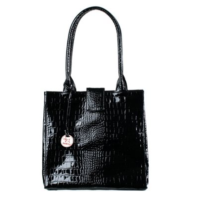 JACKIE Leather Handbag in Black Crocodile By RedDog Design Ltd