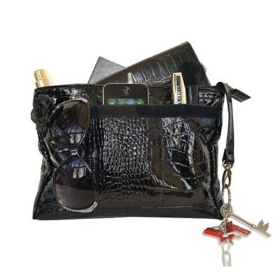 HANDBAG ORGANISER  BAGPOD in Black Leather by RedDog