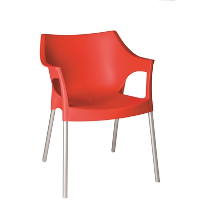 RESIN DIRECTORS POLE ARMCHAIR in Red