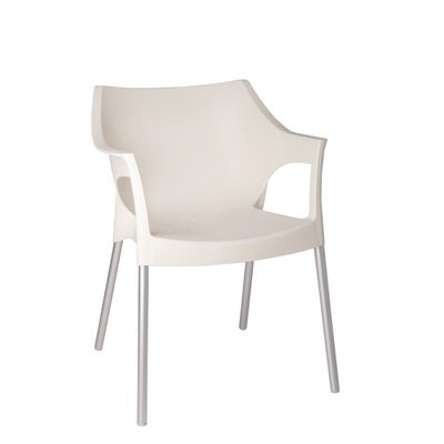 RESIN DIRECTORS POLE ARMCHAIR in White