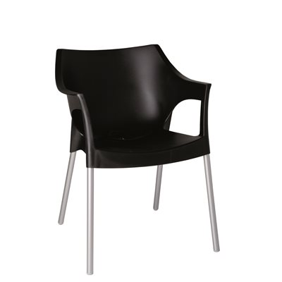 RESIN DIRECTORS POLE ARMCHAIR in Black