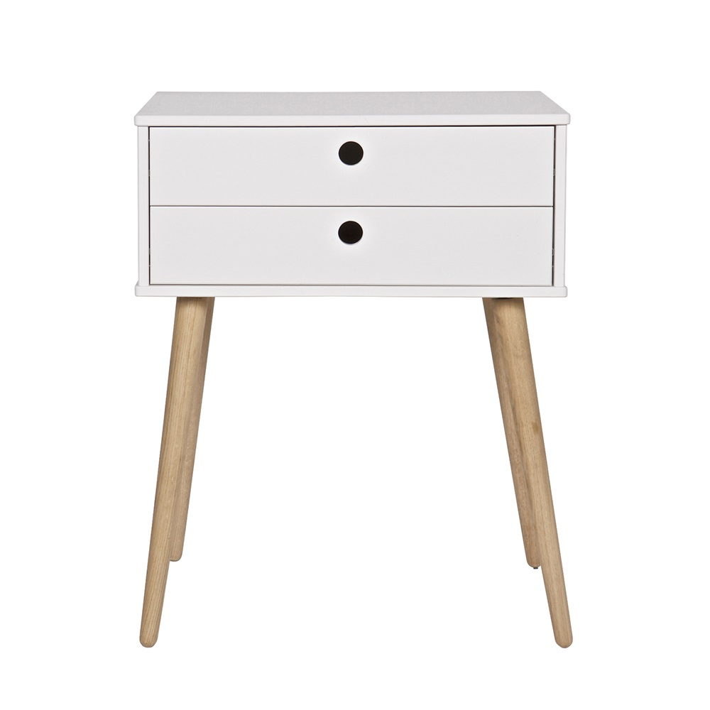 Retro 2 Drawer Side Table In Pine Woood Cuckooland