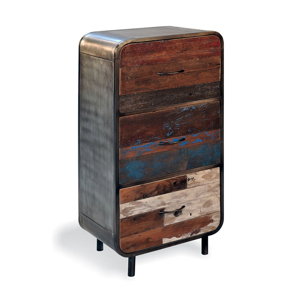 Retro 3 drawer high dresser in recycled boat wood for Retro home furniture