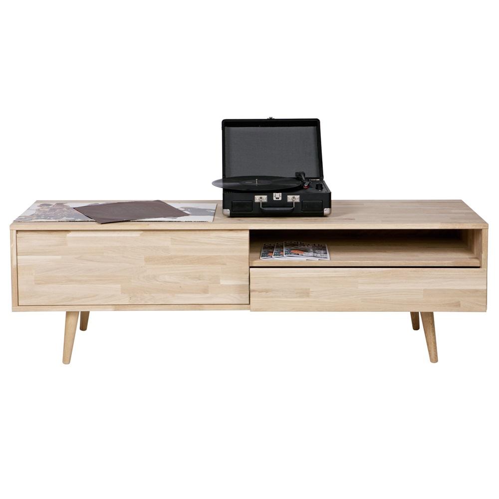 retro oak tv stand in natural finish woood cuckooland. Black Bedroom Furniture Sets. Home Design Ideas
