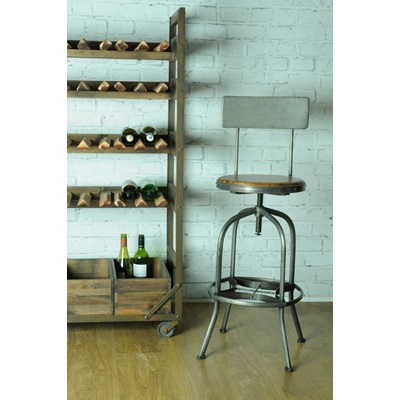 REVOLVING INDUSTRIAL BAR STOOL with Back Rest