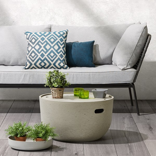 Rhette Cement Side Table with Storage by La Forma