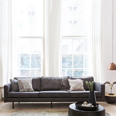 Rodeo 3 Seater Leather Sofa in Black by BePureHome