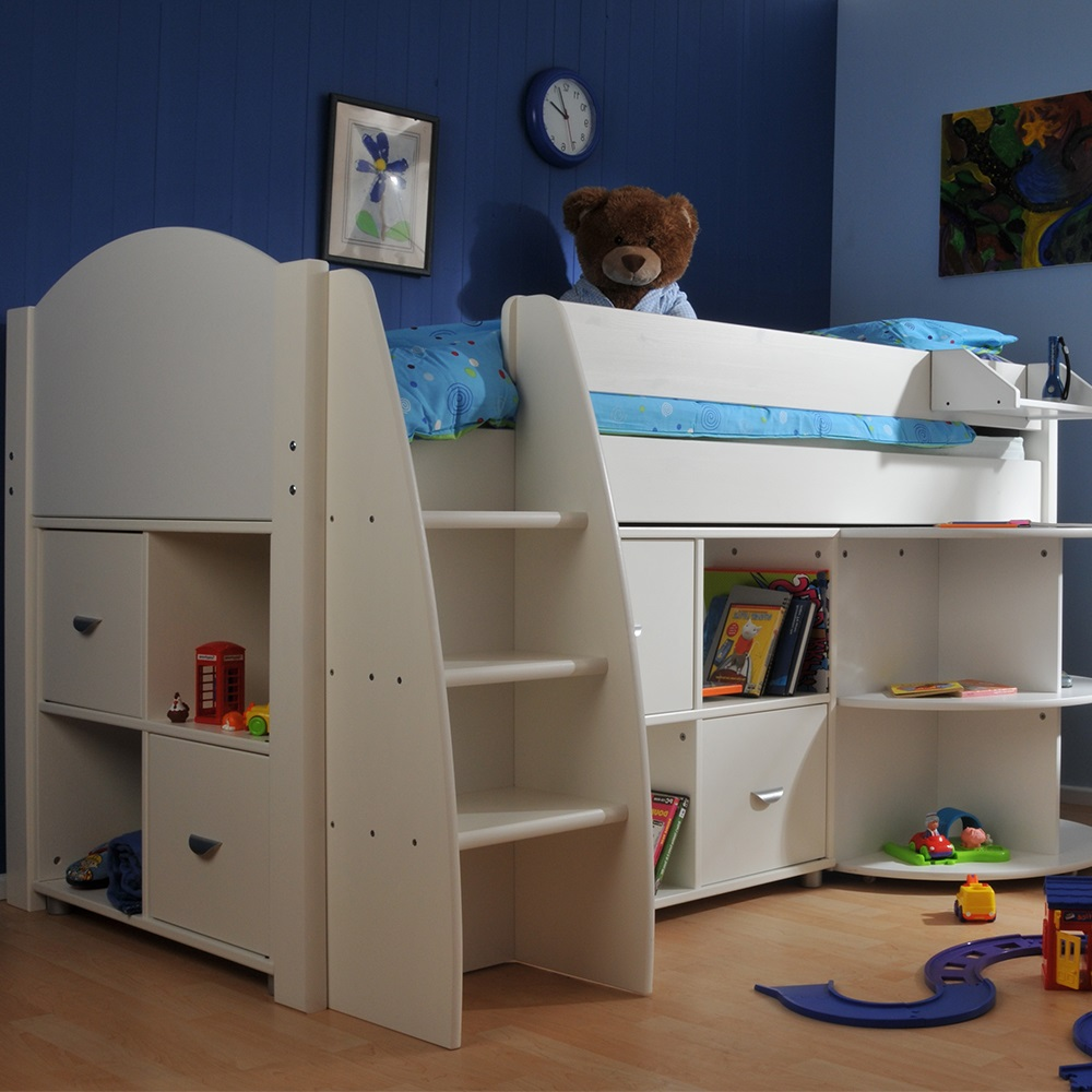 Stompa Rondo Kids Mid Sleeper Bed in White - Kids Beds ...